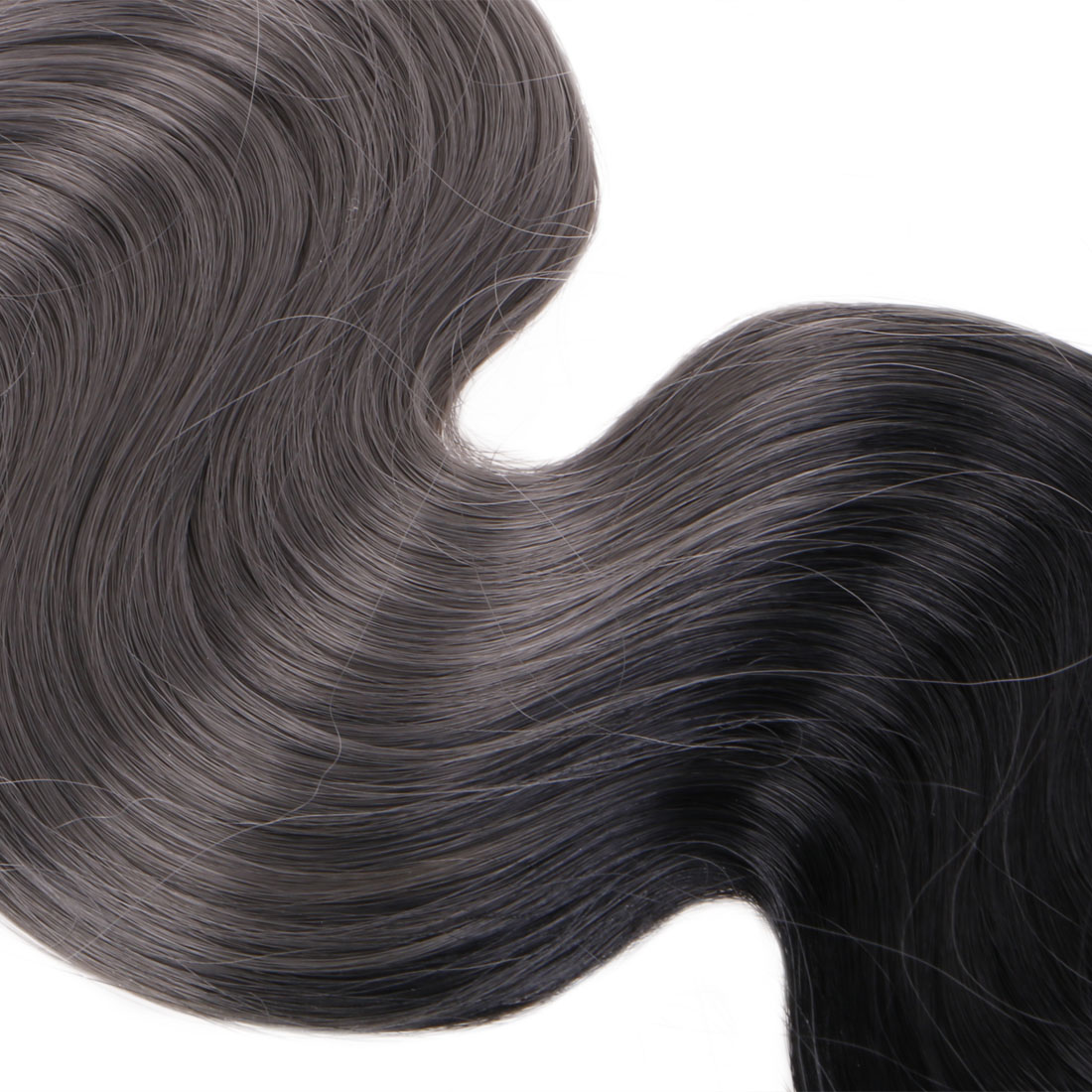 Ombre Natural Black To Metallic Ash Grey 8pcs Clip In Balayage Hair