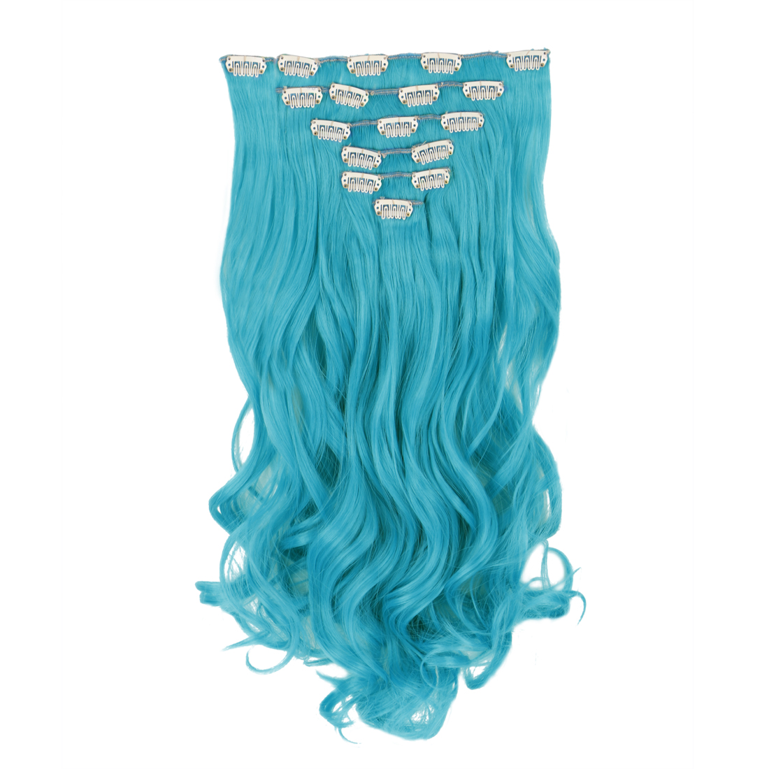 Sky Blue Clip in Snap Hair Dip Dyed Synthetic Cosplay Full Head Hair ...